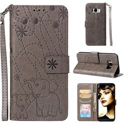 Embossing Fireworks Elephant Leather Wallet Case for Samsung Galaxy S8 Plus S8+ - Gray