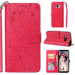 Embossing Fireworks Elephant Leather Wallet Case for Samsung Galaxy S8 Plus S8+ - Red