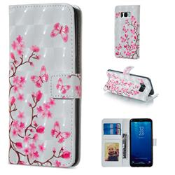 Butterfly Sakura Flower 3D Painted Leather Phone Wallet Case for Samsung Galaxy S8 Plus S8+