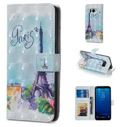 Paris Tower 3D Painted Leather Phone Wallet Case for Samsung Galaxy S8 Plus S8+