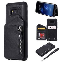 Classic Luxury Buckle Zipper Anti-fall Leather Phone Back Cover for Samsung Galaxy S8 Plus S8+ - Black