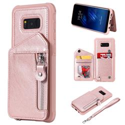 Classic Luxury Buckle Zipper Anti-fall Leather Phone Back Cover for Samsung Galaxy S8 Plus S8+ - Pink