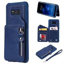 Classic Luxury Buckle Zipper Anti-fall Leather Phone Back Cover for Samsung Galaxy S8 Plus S8+ - Blue