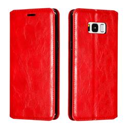 Retro Slim Magnetic Crazy Horse PU Leather Wallet Case for Samsung Galaxy S8 Plus S8+ - Red