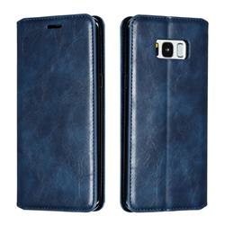 Retro Slim Magnetic Crazy Horse PU Leather Wallet Case for Samsung Galaxy S8 Plus S8+ - Blue