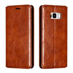 Retro Slim Magnetic Crazy Horse PU Leather Wallet Case for Samsung Galaxy S8 Plus S8+ - Brown