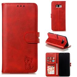 Embossing Happy Cat Leather Wallet Case for Samsung Galaxy S8 Plus S8+ - Red