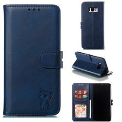 Embossing Happy Cat Leather Wallet Case for Samsung Galaxy S8 Plus S8+ - Blue