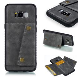Retro Multifunction Card Slots Stand Leather Coated Phone Back Cover for Samsung Galaxy S8 Plus S8+ - Gray