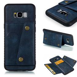 Retro Multifunction Card Slots Stand Leather Coated Phone Back Cover for Samsung Galaxy S8 Plus S8+ - Blue