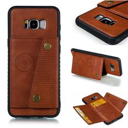 Retro Multifunction Card Slots Stand Leather Coated Phone Back Cover for Samsung Galaxy S8 Plus S8+ - Brown