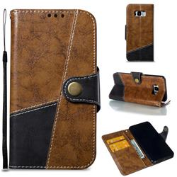 Retro Magnetic Stitching Wallet Flip Cover for Samsung Galaxy S8 Plus S8+ - Brown