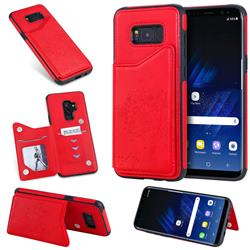 Luxury Tree and Cat Multifunction Magnetic Card Slots Stand Leather Phone Back Cover for Samsung Galaxy S8 Plus S8+ - Red
