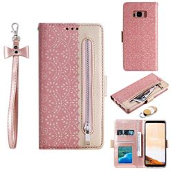 Luxury Lace Zipper Stitching Leather Phone Wallet Case for Samsung Galaxy S8 Plus S8+ - Pink