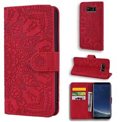 Retro Embossing Mandala Flower Leather Wallet Case for Samsung Galaxy S8 Plus S8+ - Red