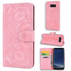 Retro Embossing Mandala Flower Leather Wallet Case for Samsung Galaxy S8 Plus S8+ - Pink