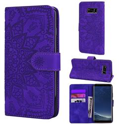Retro Embossing Mandala Flower Leather Wallet Case for Samsung Galaxy S8 Plus S8+ - Purple