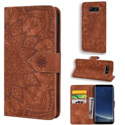 Retro Embossing Mandala Flower Leather Wallet Case for Samsung Galaxy S8 Plus S8+ - Brown