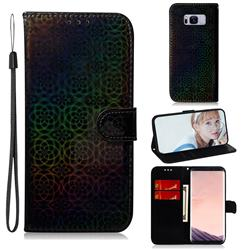 Laser Circle Shining Leather Wallet Phone Case for Samsung Galaxy S8 Plus S8+ - Black