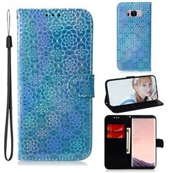 Laser Circle Shining Leather Wallet Phone Case for Samsung Galaxy S8 Plus S8+ - Blue