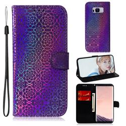 Laser Circle Shining Leather Wallet Phone Case for Samsung Galaxy S8 Plus S8+ - Purple