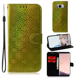 Laser Circle Shining Leather Wallet Phone Case for Samsung Galaxy S8 Plus S8+ - Golden