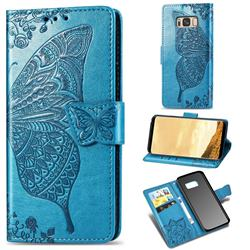 Embossing Mandala Flower Butterfly Leather Wallet Case for Samsung Galaxy S8 Plus S8+ - Blue