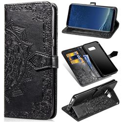 Embossing Imprint Mandala Flower Leather Wallet Case for Samsung Galaxy S8 Plus S8+ - Black