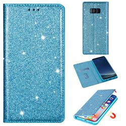 Ultra Slim Glitter Powder Magnetic Automatic Suction Leather Wallet Case for Samsung Galaxy S8 Plus S8+ - Blue