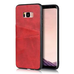 Simple Calf Card Slots Mobile Phone Back Cover for Samsung Galaxy S8 Plus S8+ - Red