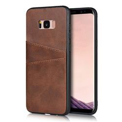 Simple Calf Card Slots Mobile Phone Back Cover for Samsung Galaxy S8 Plus S8+ - Coffee