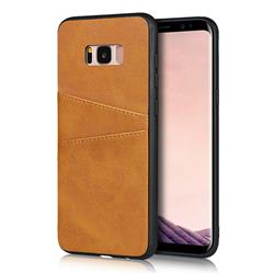 Simple Calf Card Slots Mobile Phone Back Cover for Samsung Galaxy S8 Plus S8+ - Yellow