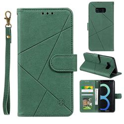 Embossing Geometric Leather Wallet Case for Samsung Galaxy S8 Plus S8+ - Green