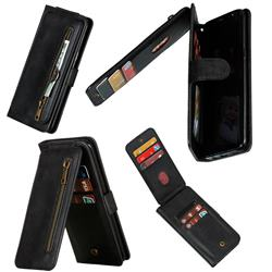 Multifunction 9 Cards Leather Zipper Wallet Phone Case for Samsung Galaxy S8 Plus S8+ - Black