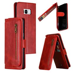 Multifunction 9 Cards Leather Zipper Wallet Phone Case for Samsung Galaxy S8 Plus S8+ - Red