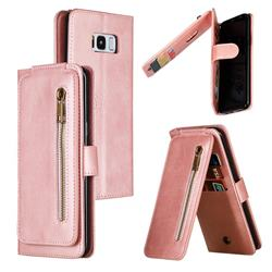 Multifunction 9 Cards Leather Zipper Wallet Phone Case for Samsung Galaxy S8 Plus S8+ - Rose Gold