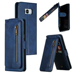 Multifunction 9 Cards Leather Zipper Wallet Phone Case for Samsung Galaxy S8 Plus S8+ - Blue