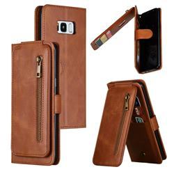 Multifunction 9 Cards Leather Zipper Wallet Phone Case for Samsung Galaxy S8 Plus S8+ - Brown