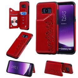 Yikatu Luxury Cute Cats Multifunction Magnetic Card Slots Stand Leather Back Cover for Samsung Galaxy S8 Plus S8+ - Red