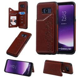 Yikatu Luxury Cute Cats Multifunction Magnetic Card Slots Stand Leather Back Cover for Samsung Galaxy S8 Plus S8+ - Brown