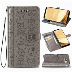 Embossing Dog Paw Kitten and Puppy Leather Wallet Case for Samsung Galaxy S8 Plus S8+ - Gray