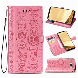 Embossing Dog Paw Kitten and Puppy Leather Wallet Case for Samsung Galaxy S8 Plus S8+ - Pink