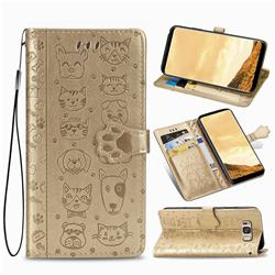 Embossing Dog Paw Kitten and Puppy Leather Wallet Case for Samsung Galaxy S8 Plus S8+ - Champagne Gold
