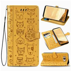 Embossing Dog Paw Kitten and Puppy Leather Wallet Case for Samsung Galaxy S8 Plus S8+ - Yellow