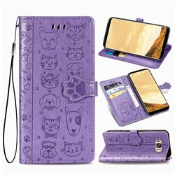Embossing Dog Paw Kitten and Puppy Leather Wallet Case for Samsung Galaxy S8 Plus S8+ - Purple