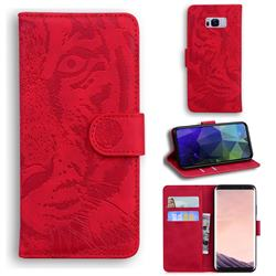 Intricate Embossing Tiger Face Leather Wallet Case for Samsung Galaxy S8 Plus S8+ - Red