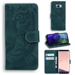 Intricate Embossing Tiger Face Leather Wallet Case for Samsung Galaxy S8 Plus S8+ - Green