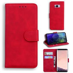 Retro Classic Skin Feel Leather Wallet Phone Case for Samsung Galaxy S8 Plus S8+ - Red