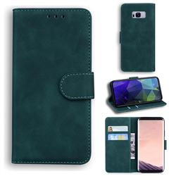 Retro Classic Skin Feel Leather Wallet Phone Case for Samsung Galaxy S8 Plus S8+ - Green