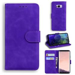 Retro Classic Skin Feel Leather Wallet Phone Case for Samsung Galaxy S8 Plus S8+ - Purple